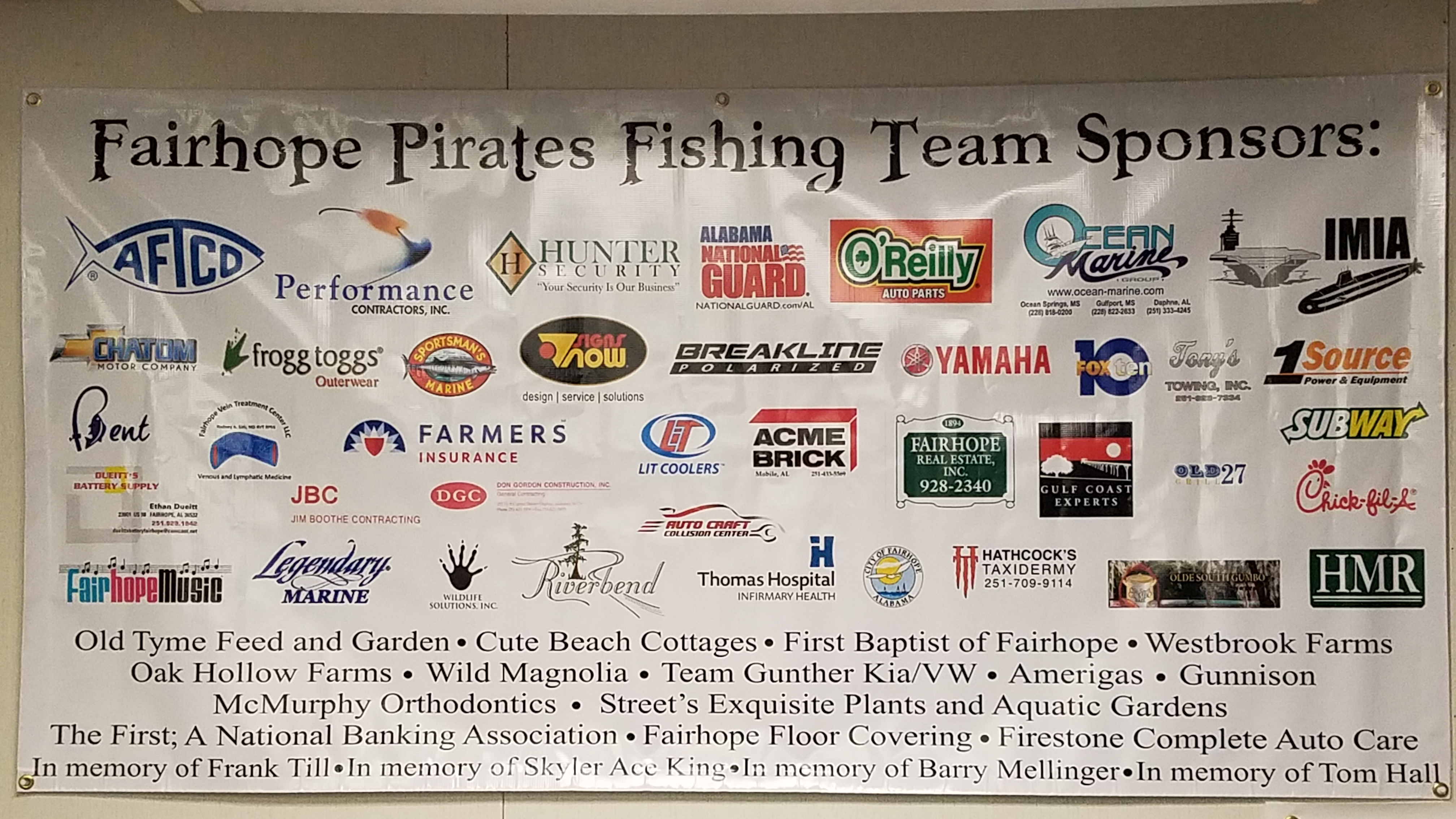 Fairhope Fishing Team - 2017 Sponsors